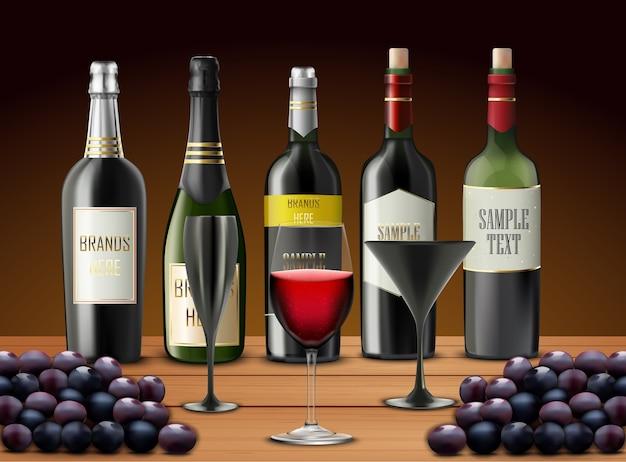 Иллюстрация реалистичного набора бокалов вина