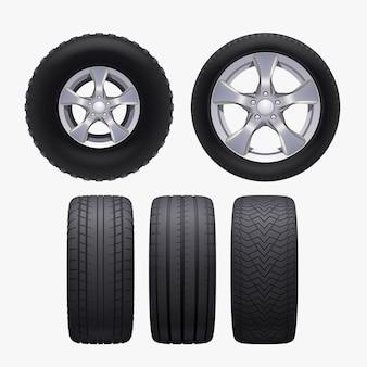 Иллюстрация реалистичных различных автомобильных колес спереди и сбоку Premium векторы
