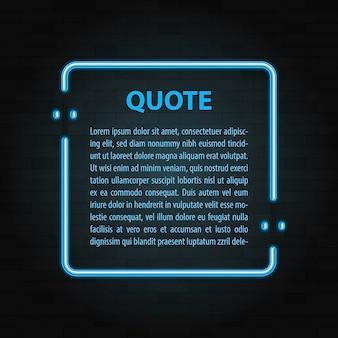 현실적인 벡터 네온 프레임 아이콘의 그림입니다. 빈티지 견적 거품 기호입니다. 바 광고 복고풍 빛나는 프레임 템플릿.