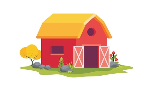 赤い納屋の家のイラスト