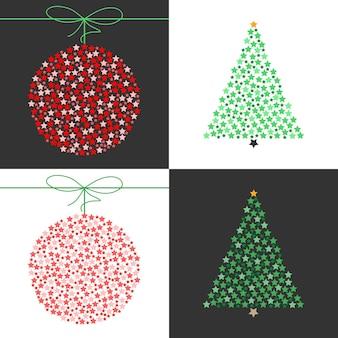 赤いクリスマスボールと緑のクリスマスツリーベクトルセットのイラスト