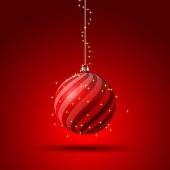 Иллюстрация красный елочный шар с игристым