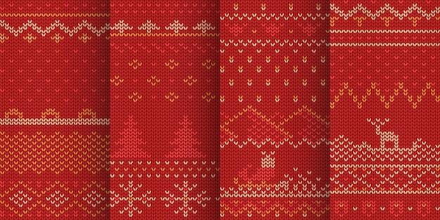セットで赤い色の冬のテーマのシームレスなパターンのイラスト