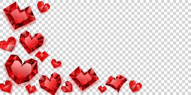 투명한 배경에 그림자가 있는 크리스탈로 만든 빨간 하트 그림