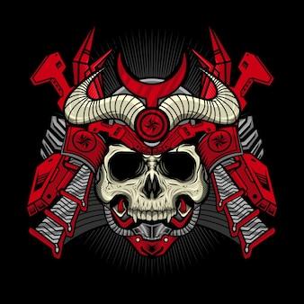 ヘルメットの詳細なベクトルデザインと赤い侍頭蓋骨サイボーグのイラスト