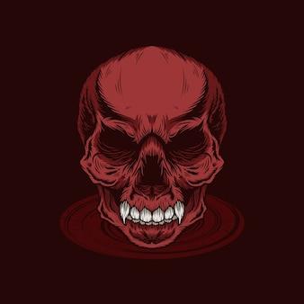 Подробная иллюстрация головы красного черепа