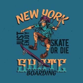 スケートボード上のレゲエ男のイラスト
