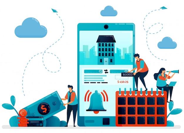 ホテルの部屋とアパートの予約、予約、注文、購入のイラスト。旅行や旅行のためのモバイルアプリサービス。\