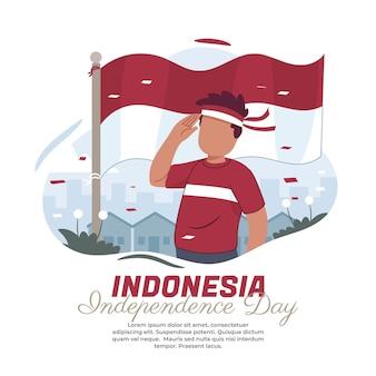 インドネシアの国旗を尊重するイラスト