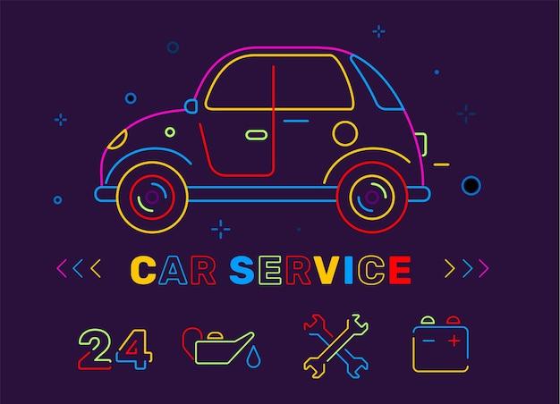 Иллюстрация ретро автомобиля неонового цвета со значком и названием на черном фоне
