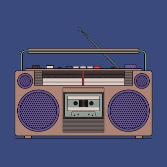 Иллюстрация ретро кассетный магнитофон, изолированных на синем фоне. значок наброски.