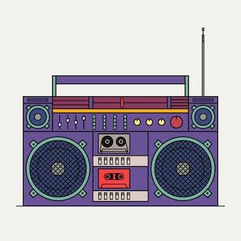 Иллюстрация ретро кассетный магнитофон, изолированные на белом фоне. значок наброски.