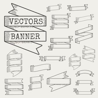 Illustration of ribbon banner set