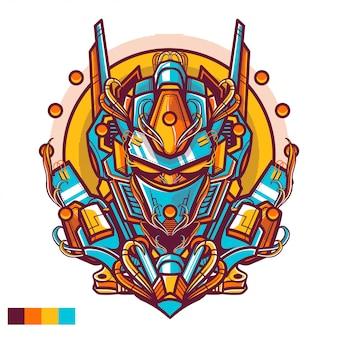Tシャツデザインのロボットヘッドのイラスト