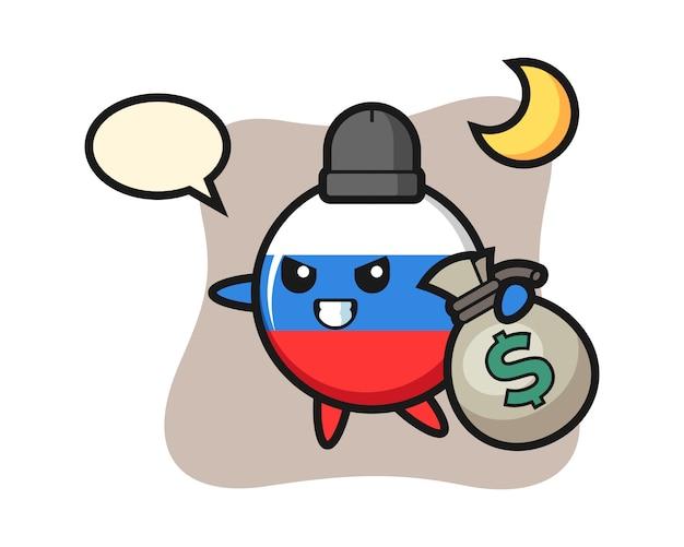 Иллюстрация мультяшного значка флага россии украдены деньги, милый стиль дизайна