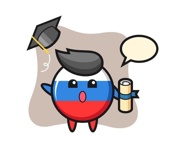 卒業式、かわいいスタイルのデザインで帽子を投げるロシアの旗バッジ漫画のイラスト