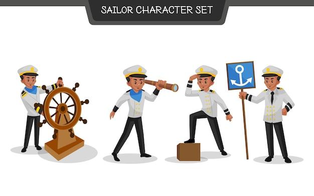 Иллюстрация набора символов моряка