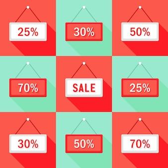 판매 25 30 50 및 70% 기호 아이콘 세트의 그림