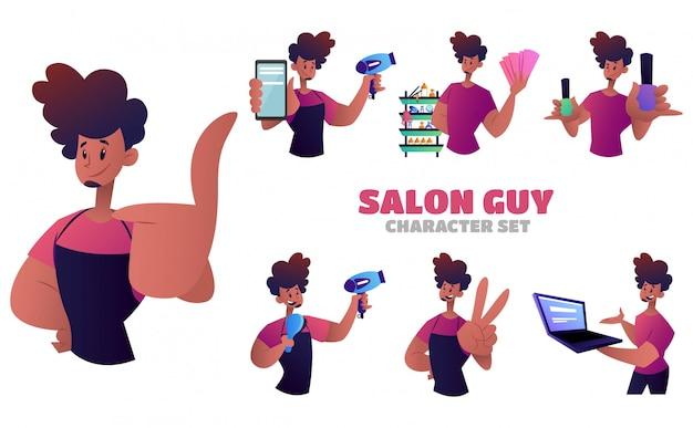 Иллюстрация набора символов салон парень