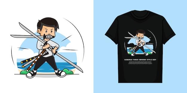 3本の剣のスタイルとtシャツのモックアップデザインのサムライボーイのイラスト