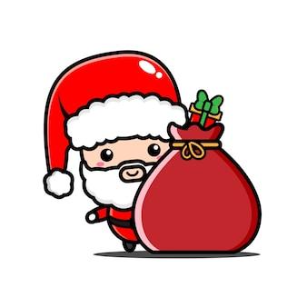 サンタクロースとクリスマスプレゼントのイラスト