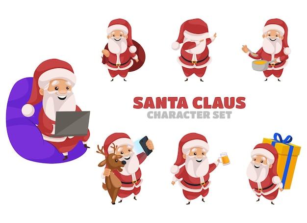 サンタクロースのキャラクターセットのイラスト
