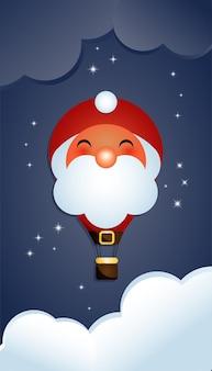 気球の形をしたサンタクロースのキャラクターのイラスト