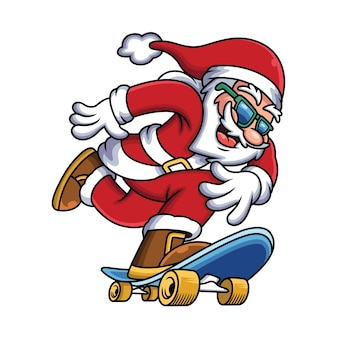 스케이트 보드를 재생하는 산타 클로스의 그림