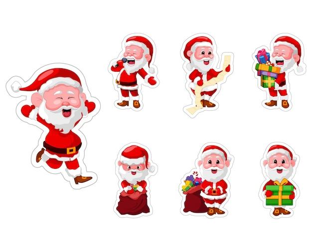 산타 클로스 스티커 세트의 그림