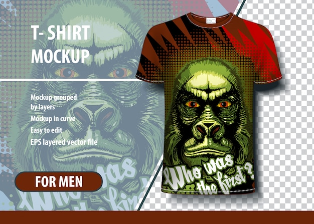 Tシャツデザインの怖いゴリラのイラスト