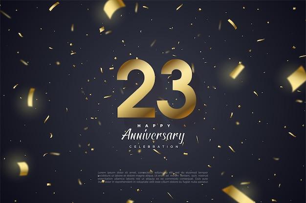 23周年記念の背景に散らばった数字と金の紙のイラスト