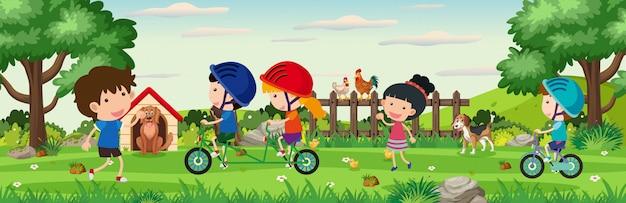 Иллюстрация сцены с детьми, играющими в парке