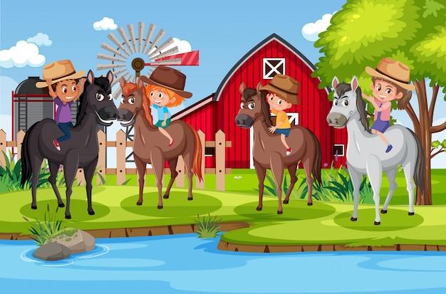 公園で馬に乗る子供たちとのシーンのイラスト