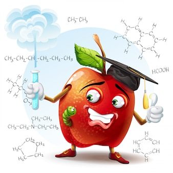 Иллюстрация школьного яблока с червем и с пробиркой в руке с химическими формулами на заднем плане.