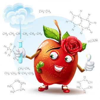 Иллюстрация яблока школьной красоты с червем и с пробиркой в руке с химическими формулами на заднем плане.