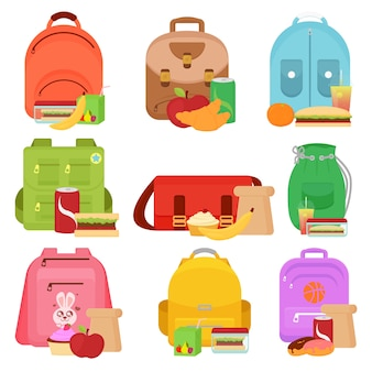 Иллюстрация школьников и коробки для обеда