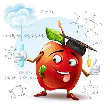 Иллюстрация яблока школьного ученого с вредным веществом в пробирке в руке и химическими формулами на заднем плане.