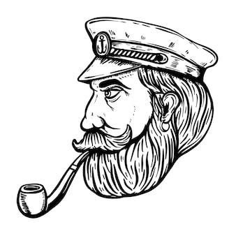 흰색 배경에 흡연 파이프와 바다 선장의 그림. 포스터 요소, 티셔츠. 삽화 프리미엄 벡터