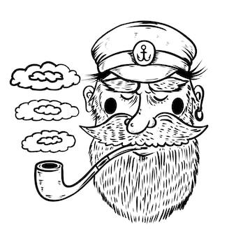 흰색 배경에 흡연 파이프와 바다 선장의 그림. 포스터 요소, 티셔츠. 삽화