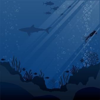 Иллюстрация морской жизни и кораллов на морском дне