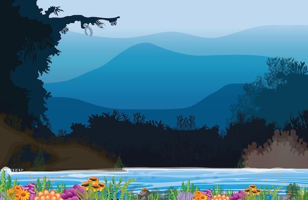 Иллюстрация моря, гор и кораллов.