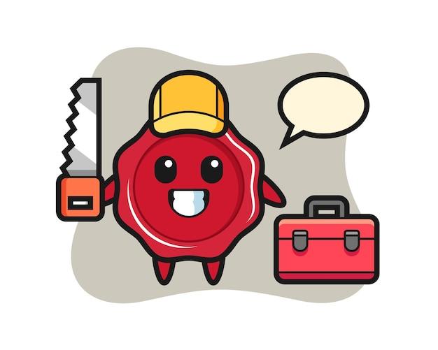 Иллюстрация сургучного персонажа как плотника