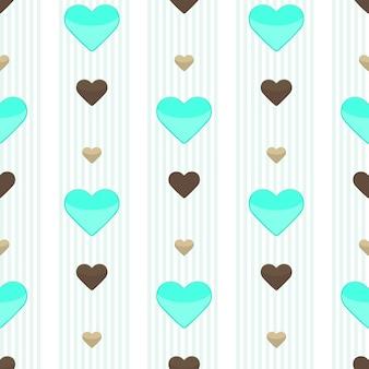 Иллюстрация бесшовные сердце синий полосатый узор