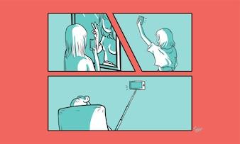 Illustration of selfie concept