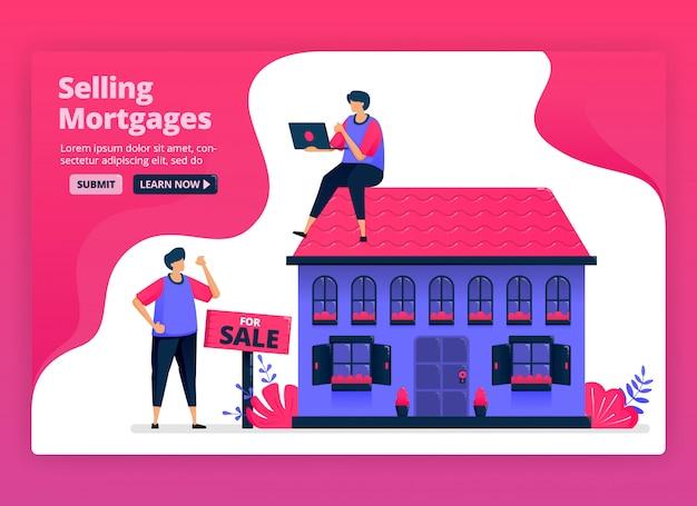 安い住宅ローンで不動産や不動産を売買するイラスト。銀行による住宅購入のための資金。