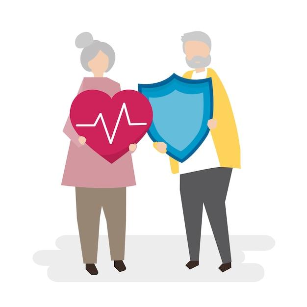 Иллюстрация пожилых людей со страхованием