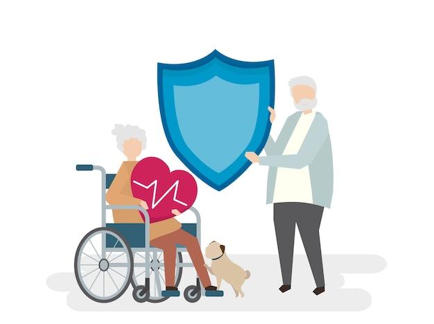 Иллюстрация пожилых людей с страхованием жизни