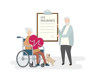 Illustration of seniors with life insurance
