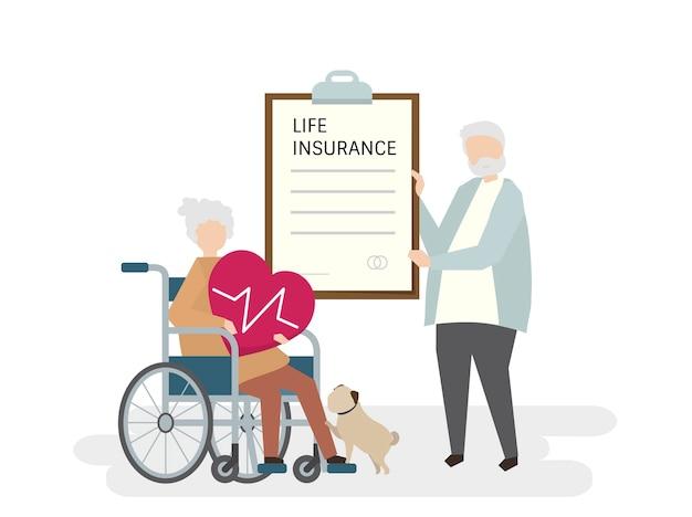 生命保険の高齢者のイラスト