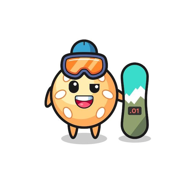 Иллюстрация персонажа кунжутного мяча в стиле катания на сноуборде, милый стильный дизайн для футболки, наклейки, элемента логотипа